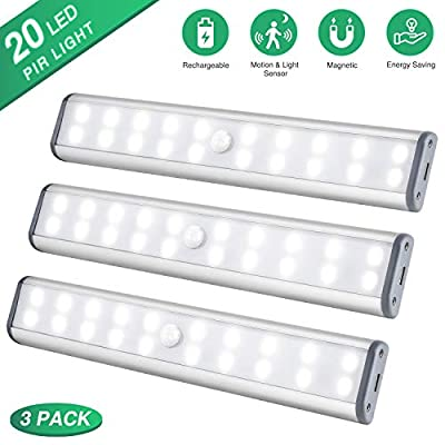 Under-Cabinet-Lighting-Closet-Light-20-LEDs-3-Packs,-Wireless-Rechargeable-Cabinet-Lights,-Magnetic-Under-Counter-Lighting,-LED-Motion-Sensor-Night-Light-for-Closet-Cabinet-Wardrobe-Stairs-(White)