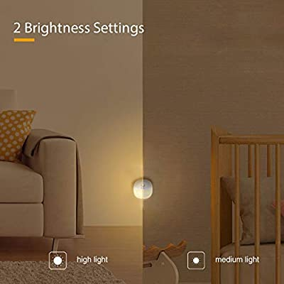 Rechargeable-LED-Night-Light-Adjustable-Brightness-Warm-White-nightlight-for-Kids-Motion-Sensor-for-Hallway,-Kitchen,-Bathroom,-Bedroom,-Stairs,-Li-Polymer-Battery,-2-Packs