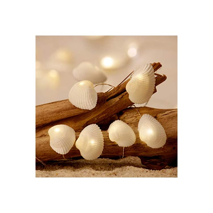 Nature-Seashell-Nautical-Decorative-Scallops-String-Lights,-USB-Cord-&-Battery-Powered-with-Multi-Function-Remote-by-10-ft-30-LEDs-for-Ocean-Mermaid-Summer-Wedding-Bedroom-Home-Parties