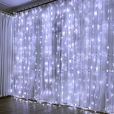 Window-Curtain-String-Lights,-300-LED-Fairy-Twinkle-String-Lights-Fits-for-Christmas-Bedroom-Wedding-Party-Backdrop-Outdoor-Indoor-Wall-Decoration,-White,-8-Modes,-USA-UL-Certified