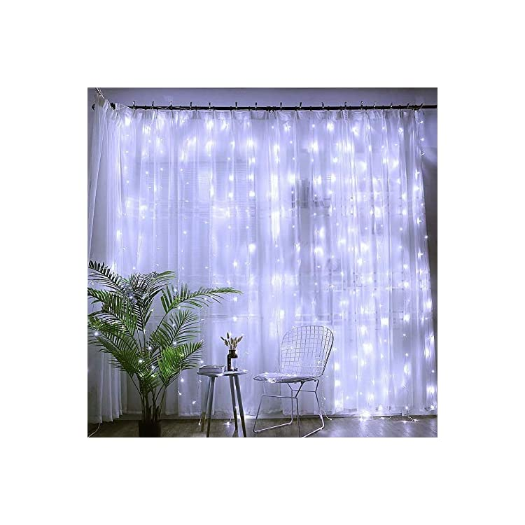 304-LED-30V-9W-Energy-Saving-Linkable-Window-Curtain-String-Light-with-8-Mode-for-Patio-Party-Garden-Wedding-(304L,-Cool-White)