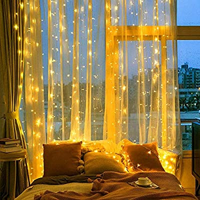 600-LED-Curtain-String-Lights---Christmas-Decoration-Curtain-Lights-with-8-Modes-Backdrop-Lighting-for-Wedding-Party-Halloween-Christmas-Home-Bedroom-Window-Garden-Outdoor-Indoor-Wall-Decoration