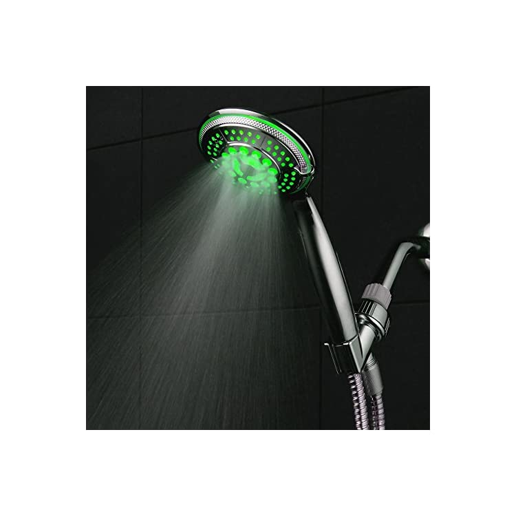 DreamSpa-All-Chrome-Water-Temperature-Controlled-Color-Changing-5-Setting-LED-Handheld-Shower-Head-by-Top-Brand-Manufacturer!-Color-of-LED-lights-changes-automatically-according-to-water-temperature
