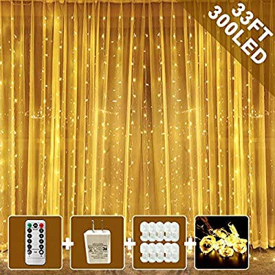 Window-Curtain-String-Light,-300-Waterproof-LED-Twinkle-Lights,-8-Modes-Fairy-Lights-USB-Remote-Control-Lights-for-Christmas-Bedroom-Party-Wedding-Home-Garden-Wall-Decorations(9.9x9.9-Ft)