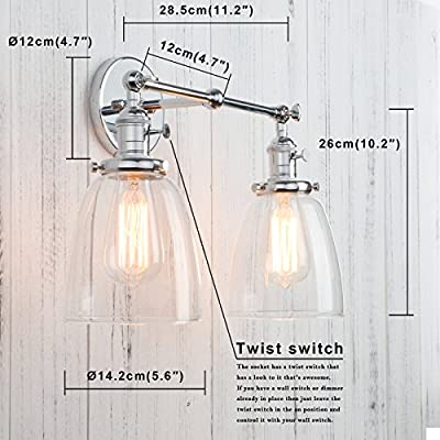 Permo-Double-Sconce-Vintage-Industrial-Antique-2-Lights-Wall-Sconces-with-Oval-Cone-Clear-Glass-Shade-(Chrome)