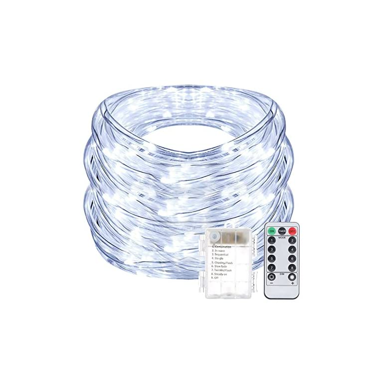 Fairy-Lights-Battery-Powered-33ft-String-Lights-8-Modes-LED-Twinkle-Lights-with-Remote-Timer-Waterproof|Indoor|Outdoor|Christmas-Ideas-(Snow-White)