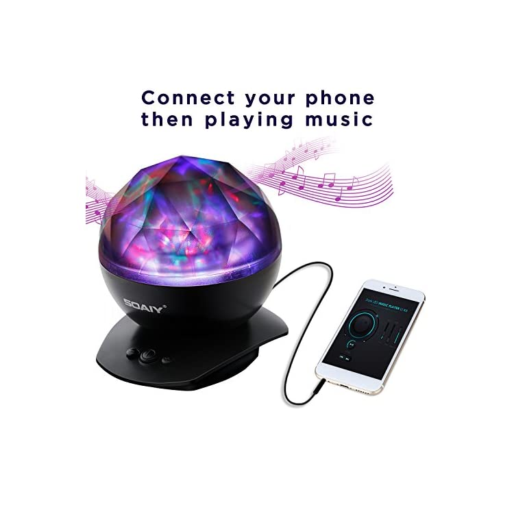 Sleep-Soother-Aurora-Projection-LED-Night-Light-Lamp-with-8-Lighting-Mode-&-Speaker,-Relaxing-Light-Show-for-Baby-Kids-and-Adults,-Mood-Light-for-Baby-Nursery-Bedroom-Living-Room-(Black)