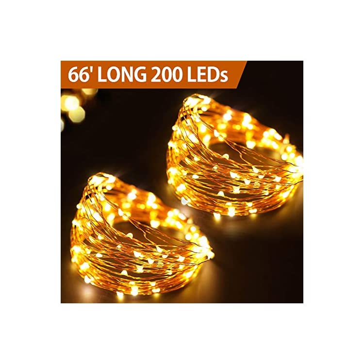 66-Ft-200-LED-Waterproof-Starry-Copper-String-Lights-Battery-Powered-With-Timer---Warm-White-String-Lights-Indoor-Bedroom-Fairy-Lights-Battery-Operated--Starry-String-Lights-New-Home-Decor