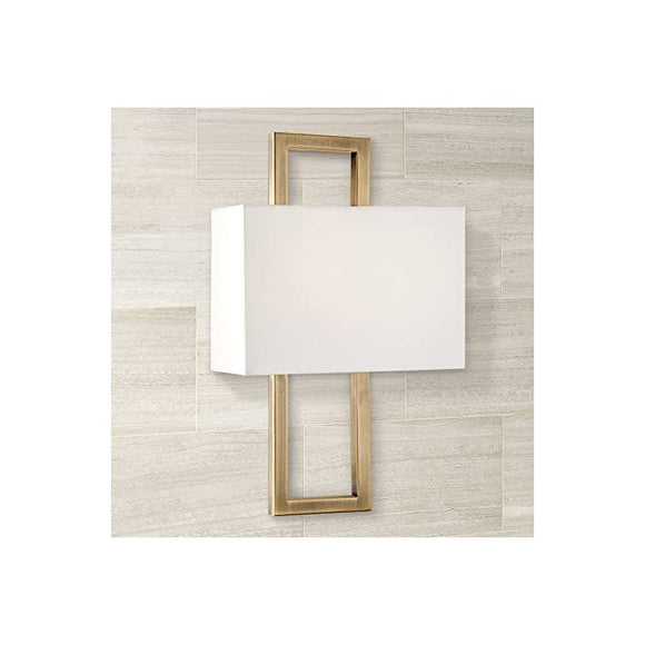 Modern-Wall-Light-Sconce-French-Brass-Hardwired-15-1/2'-High-Fixture-Rectangular-Faux-Silk-Half-Shade-for-Bedroom-Bathroom-Hallway--