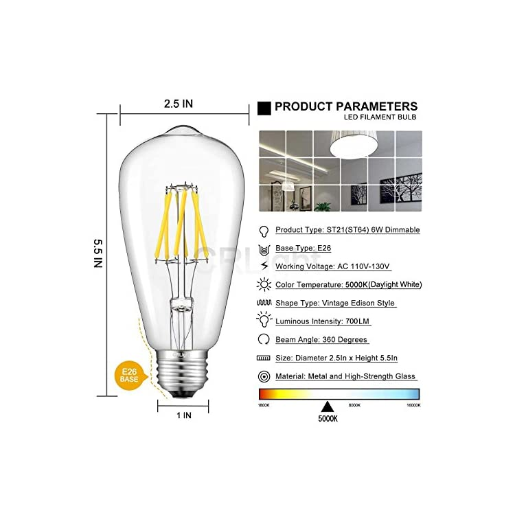 6W-5000K-LED-Edison-Bulb-Daylight-White,-700LM-70W-Incandescent-Equivalent,-Replace-12W-Compact-Fluorescent-CFL-Bulbs,-E26-Base-ST64-Antique-Clear-Glass-Dimmable-LED-Filament-Bulbs,-Pack-of-3