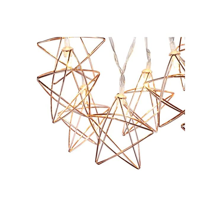 String-Lights-Geometric-Rose-Gold-Stars-LED-Metal-Fairy-Lights-3m/9.8ft-20-LED-USB-&-Battery-Powered-Twinkle-Lights-for-Bedroom-Wedding-Christmas-Home-Decoration---Warm-White