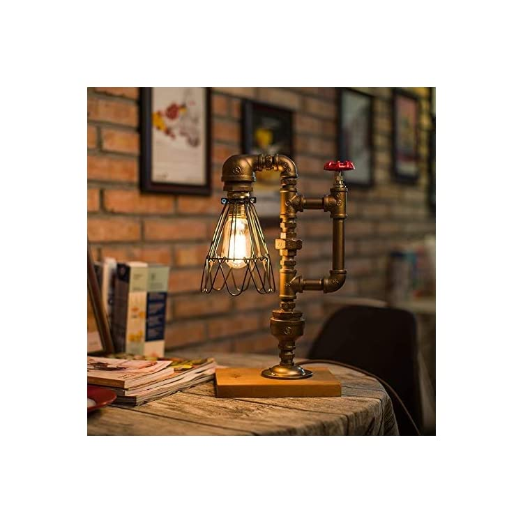 Pipe-Desk-Lamp,Vintage-Kettle-Style-Table-Light-Industrial-Iron-Pipe-D