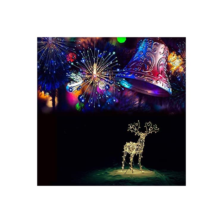 Firework-String-Lights,198-LED-4-Sounds-8-Mode-Starburst-Lights-with-Remote-Control,Waterproof-String-Lights-Battery-Operated-for-Living-Room,Bedroom,Party,Wedding-Decoration-(2pc,Multicolor)