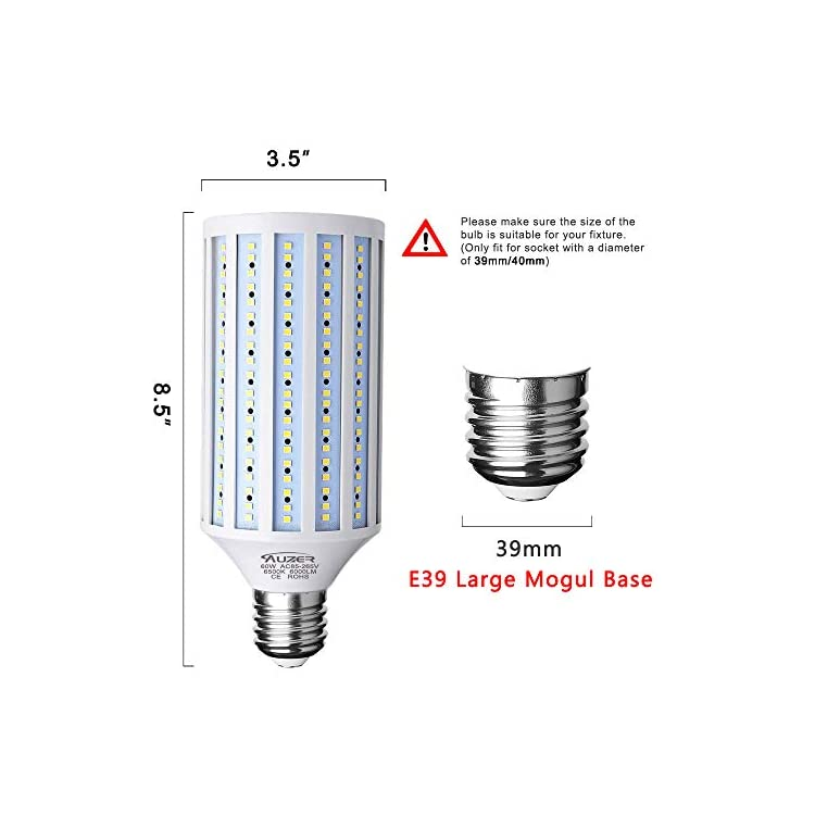 Clearance-Sale-60W-LED-Corn-Light-Bulb,-Large-Mogul-E39-Base,-6000-Lumen,-6500K-Daylight-Cool-White,LED-Corn-Bulb-for-Large-Area-Garage-Factory-Warehouse-Barn-Shopping-Mall-Supermarket-AC85V-265V