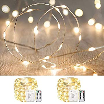 2-Pack-33ft-100-LED-Fairy-Lights-Battery-Operated,-Waterproof-Twinkle-String-Lights,-Copper-Wire-Dimmable-Firefly-Lights-with-Remote-Control-Timer,-Warm-White