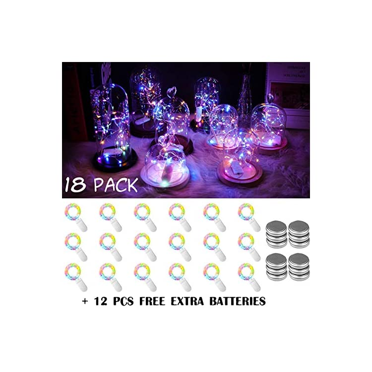 18-Pack-Fairy-String-Lights-Battery-Operated-String-Lights-with-20-Micro-LEDs-on-2M-Silver-Copper-Wire-Starry-String-Light-for-DIY-Party-Christmas-Costume-Wedding-Easter-Table-Decorations-(Colorful)
