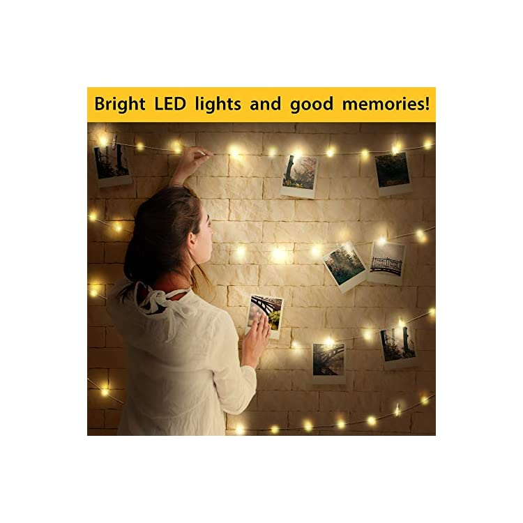 Photo-Clip-String-Lights---80-LED-Lights-with-40-Clips-for-Pictures-and-Photos---26-Feet-Wire---Battery-and-USB-Operated---with-Remote-Control---Wall-Pins-for-Easy-Installation