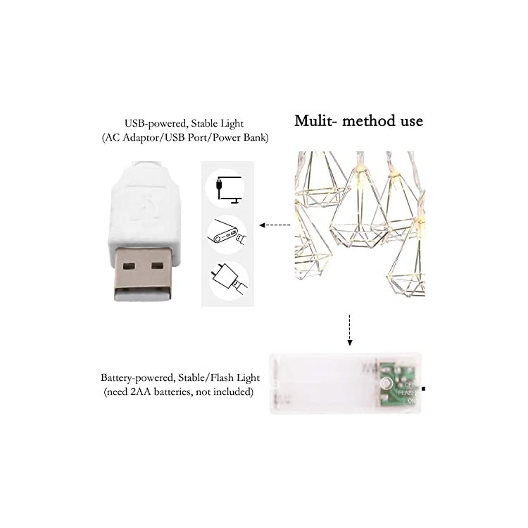 String-Lights-Geometric-Silver-Diamond-LED-Metal-Fairy-Lights-3m/9.8ft-20-LED-USB-&-Battery-Powered-Twinkle-Lights-for-Bedroom-Wedding-Christmas-Home-Decoration---Warm-White
