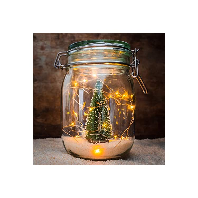Christmas-Lights-100-LED-Warm-White-Micro-String-Fairy-Lights-Indoor-with-Remote,-8-Modes-Memory-&-Timer-Function,-Battery-Powered---10m/32ft-Lit-Length-&-1m/3ft-Lead-Wire-Copper-Cable