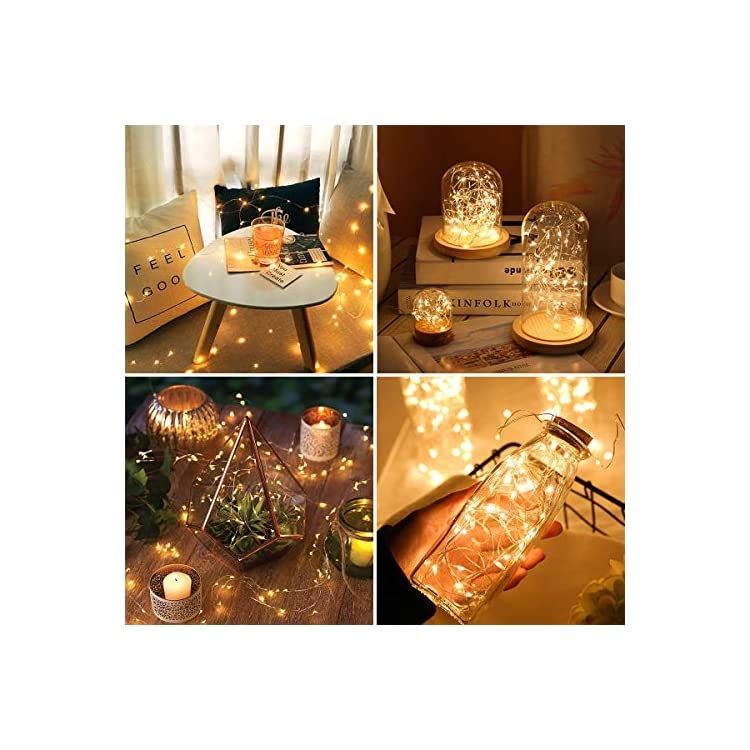LE-Fairy-Lights-Battery-Operated,-3.3ft-20-Micro-Starry-LED-Warm-White-Decorative-Copper-String-Lights-for-Indoor-Outdoor-Wedding,-Party,-Bedroom,-Mason-Jar,-Crafts,-Home-Accents-and-More,-Pack-of-8
