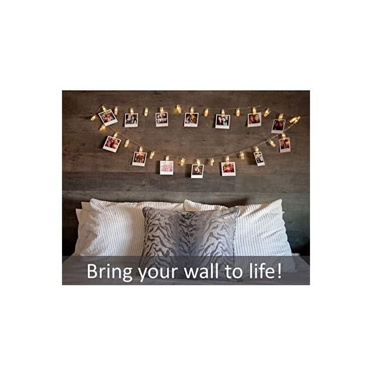 String-Lights-with-Clips-–-30-Hanging-Warm-White-LED-Lights---Battery-Operated-String-Light-–-Decorative-for-Artwork-or-Photos-–-Show-Off-Your-Adventures