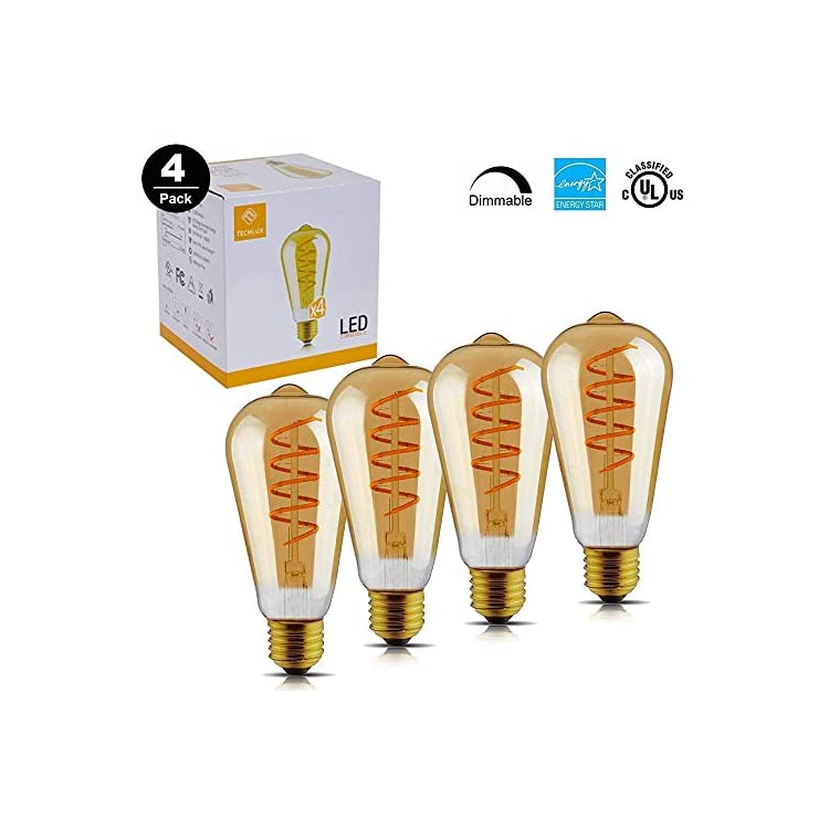 40W-Equivalent-Dimmable-ST19(ST64)-LED-Flexible-Spiral-Filiment-Edison-Lights-Bulbs,Vintage-Amber-Glass-LED-Reading/Bedroom/Bar-Lighting,Warm-White-2000K,E26,Pack-of-4