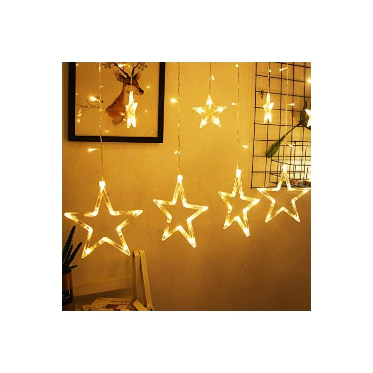 12-Stars-138-LED-Star-Lights,-Curtain-String-Lights-for-Bedroom-with-8-Lighting-Modes,-Waterproof-Fairy-Lights-for-Bedroom,-Wedding,-Party,-Christmas,-Ramadan-Decorations-(Warm-White)