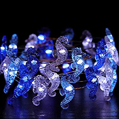 Seahorse-Decorative-String-Lights,-13.5-Ft-40-LED-Battery-Operated-Copper-Wire-Beach-Theme-Fairy-Lights-for-Indoor-Outdoor-Decorations-(Cool-White,-Remote-Control-with-Timer)