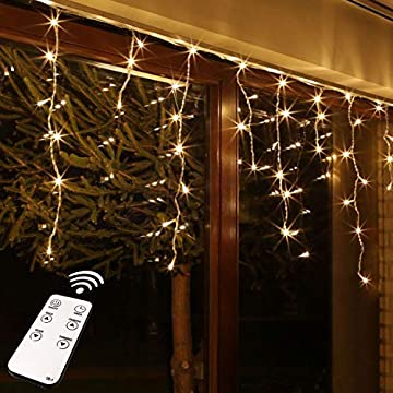 Remote-Control-Icicle-Lights,-300LED-Warm-White-Window-Curtain-Lights-for-Wedding,-Party,-Bedroom,-Home,-Garden,-Outdoor,-Indoor-Wall-Decorations