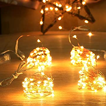 4-Pack-50-Led-Battery-Operated-Mini-String-Lights,-Warm-White-Firefly-Fairy-Lights-for-Indoor-Christmas-Centerpiece-Table-Small-Tree-Ornaments-Decorations