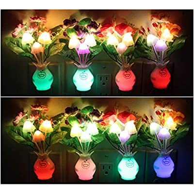 Flower-LED-Night-Light-(4-Pack)-Mushroom-Night-Light-Color-Changing,-Flower-led-Night-Lights,-Decorative-Night-Light,-Nursery-Night-Lights