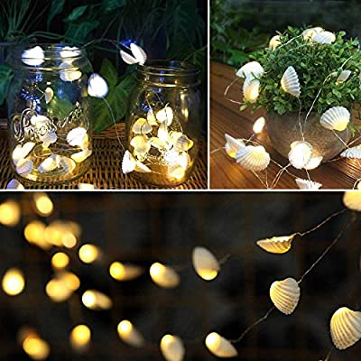 Beach-Seashell-Decorative-String-Lights-13.85-Ft-40-Warm-White-LED-Waterproof-Battery-Operated-Ocean-String-Lights-for-Bedroom-Wedding-Holiday-Party-Garden-Indoor-Outdoor-Decorations