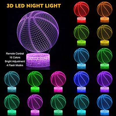 Basketball-3D-Lamp-Night-Light-with-Remote-&-Touch-Control,Multiple-Colour-&-Flashing-Modes-and-Brightness-Adjusted,USB-&-Batteries-Powered,Best-Gifts-for-Sport-Lovers-Boys-Girls-Kids