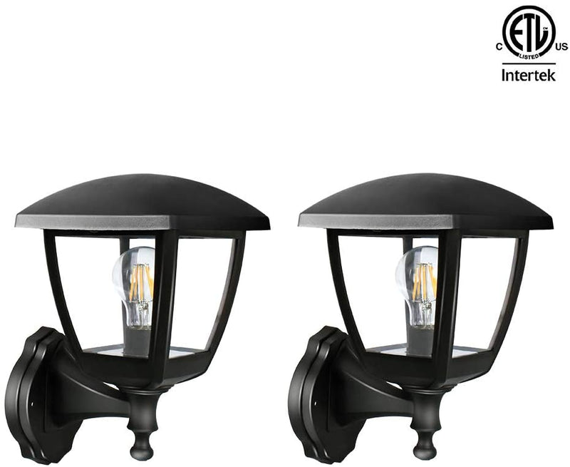 Transitional-Style-LED-Outdoor-Wall-Lantern,-Black-Polypropylene-Plast