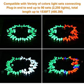 Green-Christmas-Lights,-25-LED-Festive-Lights,-16ft-Faceted-C9-String-Lights,-120V-UL-Certified-Indoor-&-Outdoor-String-Lights-for-Easter,-Tree,-Garden,-Party,-Patio,-Fence,-Holiday-Decoration