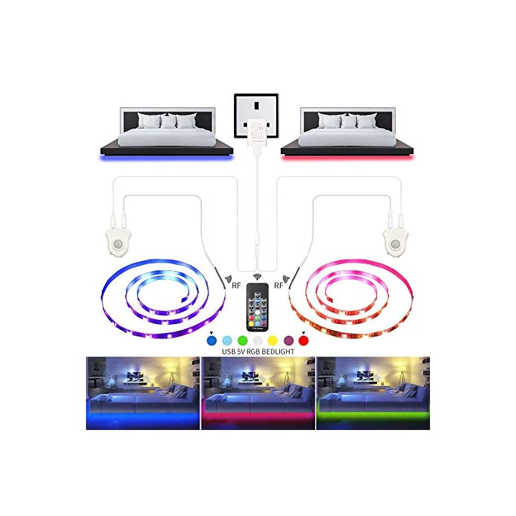 Under-Bed-Light,-LED-Strip-Lights-6.56ft-x-2-Motion-Sensor-RGB-Color-Changing-LED-Tape-Lights-with-RF-Remote-Automatic-Night-Light-for-Home-Kitchen-Bathroom-Wardrobe-Indoor-Decoration