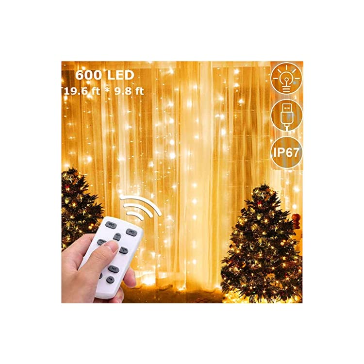 600-LED-Backdrop-Curtain-Lights-Window-String-Light-Fairy-Icicle-Light-Outdoor-Indoor-Wall-Decorations-Lights-for-Bedroom-Wedding-Party,-Warm-White
