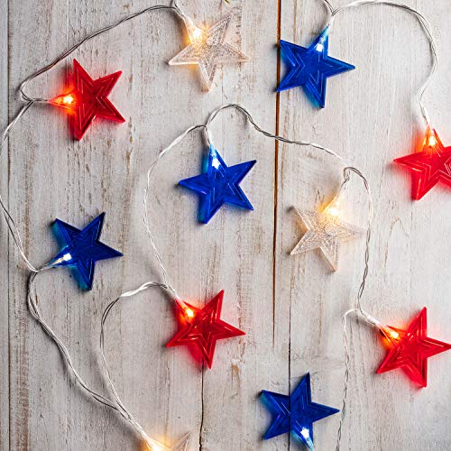 Lights4fun,-Inc.-12-Red,-White-and-Blue-Star-Indoor-Battery-Operated-LED-String-Lights