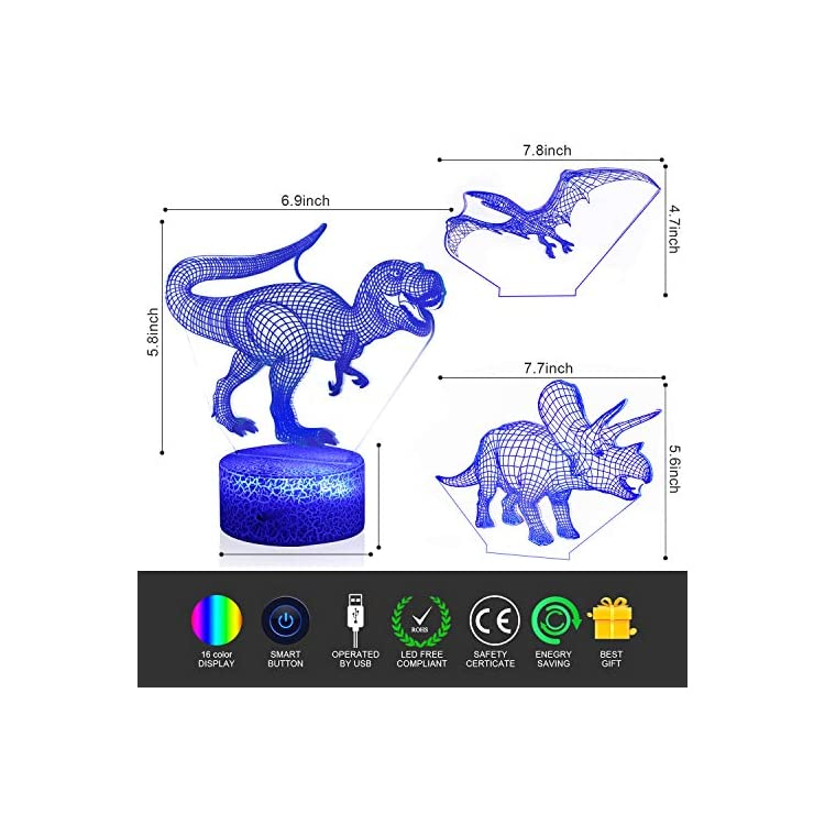 3D-Night-Light---3D-Dinosaur-Illusion-LED-Night-Light-with-3-Different-Pattern-and-16-Color-Change-Lamp---Remote-and-Touch-Control-for-Baby-Boys-&-Girls-Gift-Toys