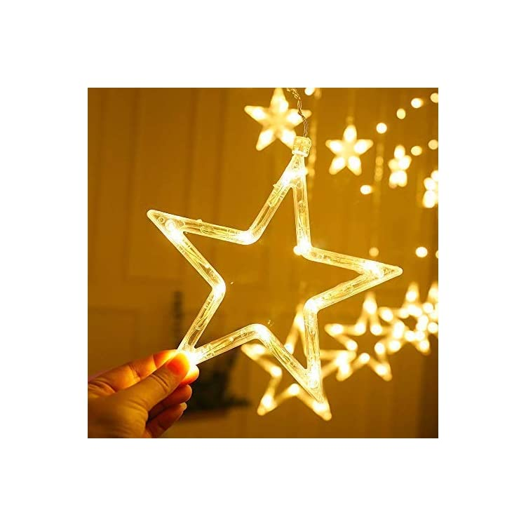 FUCHSUN-$$$-Led-Curtain-Light-Moon-and-Star-Icicle-Lights-Warm-White-String-Light-Connectable-for-Christmas-Wedding-Party-and-Home-Decoration
