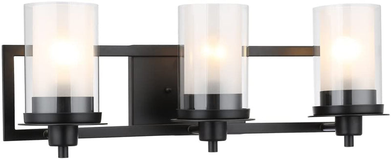 Juno-Matte-Black-3-Light-Wall-Sconce/Bathroom-Fixture-with-Clear-and-F