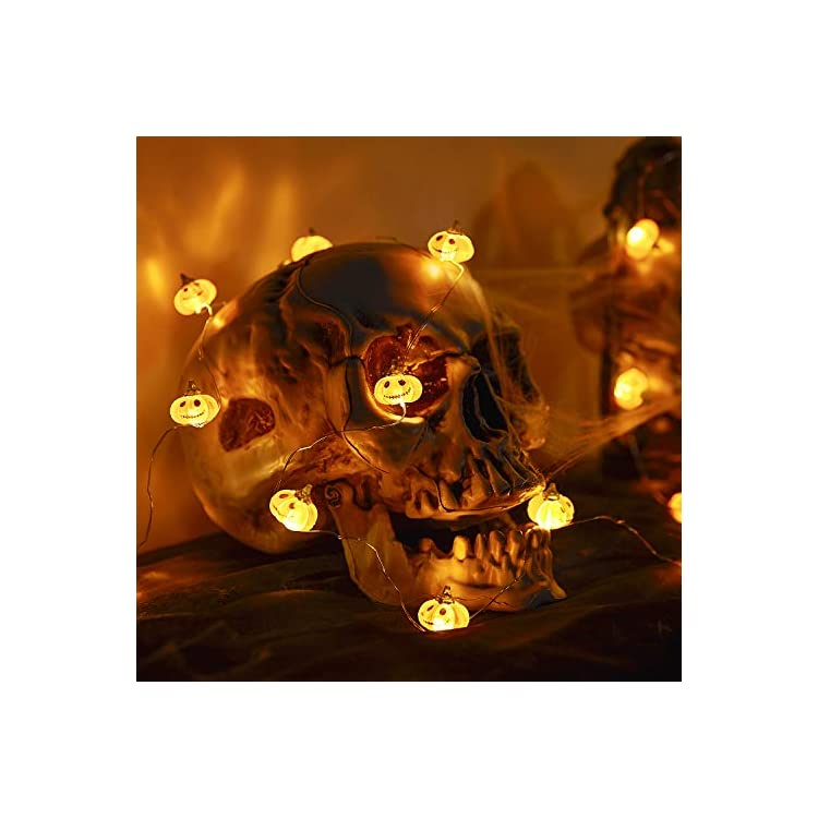 Halloween-Pumpkin-String-Lights,-Pumpkin-Decor-Autumn-Indoor-and-Outdoor-Party-Fairy-Lights,-3D-Jack-O'-Lantern,-10ft-30LED-Battery-Operated-(IP65-Waterproof,9-Light-Modes-Without-Grimace)
