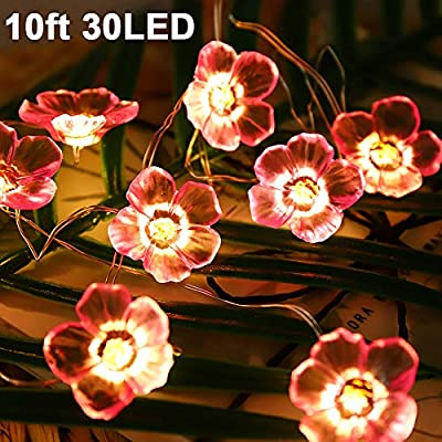 Cherry-Blossoms-Flower-Lights-for-Girl-Bedroom-Decorations,10ft-30-LED-Waterproof-String-Lights-Indoor-Outdoor,-Starry-Fairy-String-Lights-for-Women-Home-Bedroom-Spring-Wedding-Party-Battery-Powered