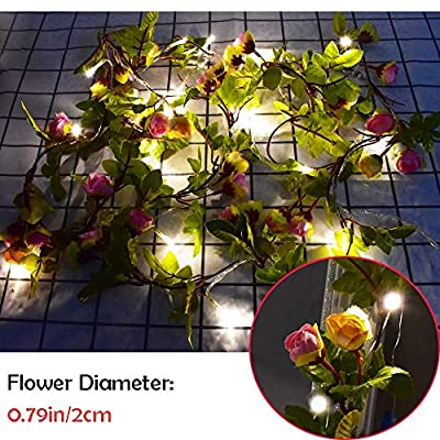Artificial-Vine-Flower-String-Lights---20LEDs-6.6ft/2m-Rose-Ivy-Leaves-Greenery-Plant-Garlands-Battery-Powered-Indoor/Outdoor-Twinkle-Lights-for-Valentine's,-Wedding-Bedroom-Party-Home-Decorations