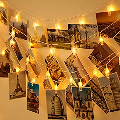 Photo-Clip-String-Lights,-20ft-40-LED-Warm-White-Fairy-String-Lights-with-40-Clear-Clips,-USB-Powered-Decorative-Lights-for-Hanging-Photos-Pictures-Cards-Perfect-for-Dorm-Bedroom-Wall