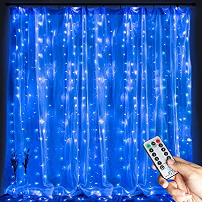 Hanging-Window-Curtain-Lights-9.8-Ft-Dimmable-&-Connectable-with-300-LED,-Remote,-8-Lighting-Modes,-Timer-for-Bedroom-Wall-Party-Indoor-Outdoor-Decor,-Blue(Curtain-is-Not-Included)