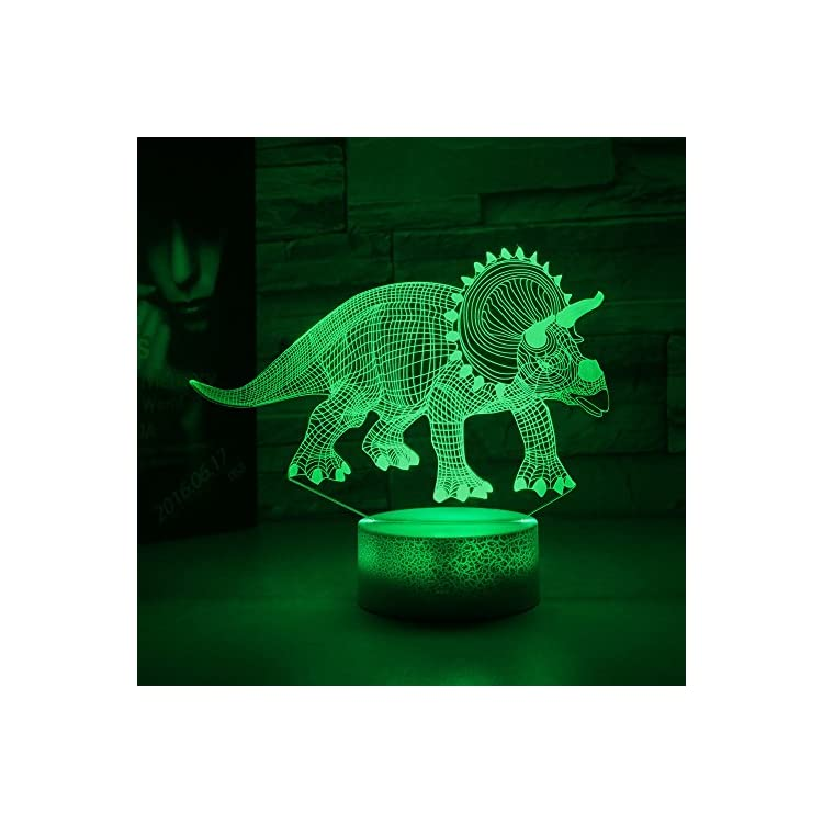 Dinosaur-Illusion-Night-Light-for-Kids-Birthday-Gifts-Optical-Desk-Lamp-Table-Touch-Nursery-Triceratops-Walking-Animals-Party-Western-Children-Room-Decor-7-color-Changing-USB-Crackle-New-Year-Noew-You