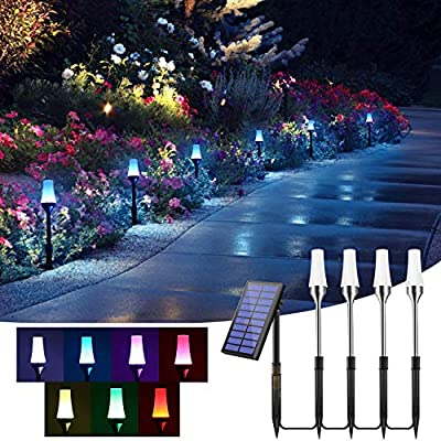 Solar-Pathway-Lights-Outdoor,RGB-Solar-Path-Lights-Bright-Auto-On/Off-