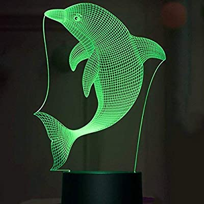 3D-Dolphin-Fish-Night-Light-Lamp-Illusion-Night-Light-7-Color-Changing-Touch-Switch-Table-Desk-Decoration-Lamps-Perfect-Christmas-Gift-with-Acrylic-Flat-ABS-Base-USB-Cable-Toy-(Bus)