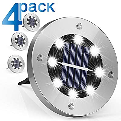 Solar-Ground-Lights-Outdoor,-8-LED-Solar-Disk-Lights-Garden-Lights-Wat